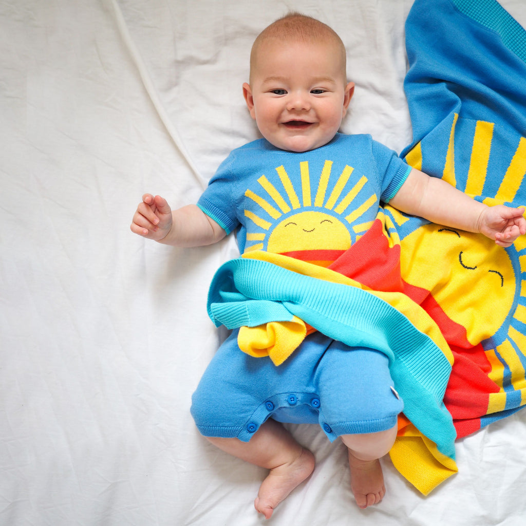 The Bonnie Mob Big Splash Baby Blanket - Blue