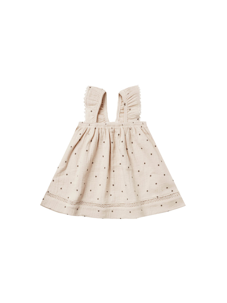 Quincy Mae Woven Ruffle Dress - Natural Stars