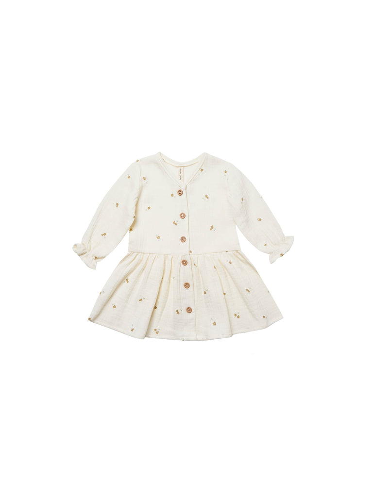 Quincy Mae Long Sleeve Button Down Dress - Tiny Flowers