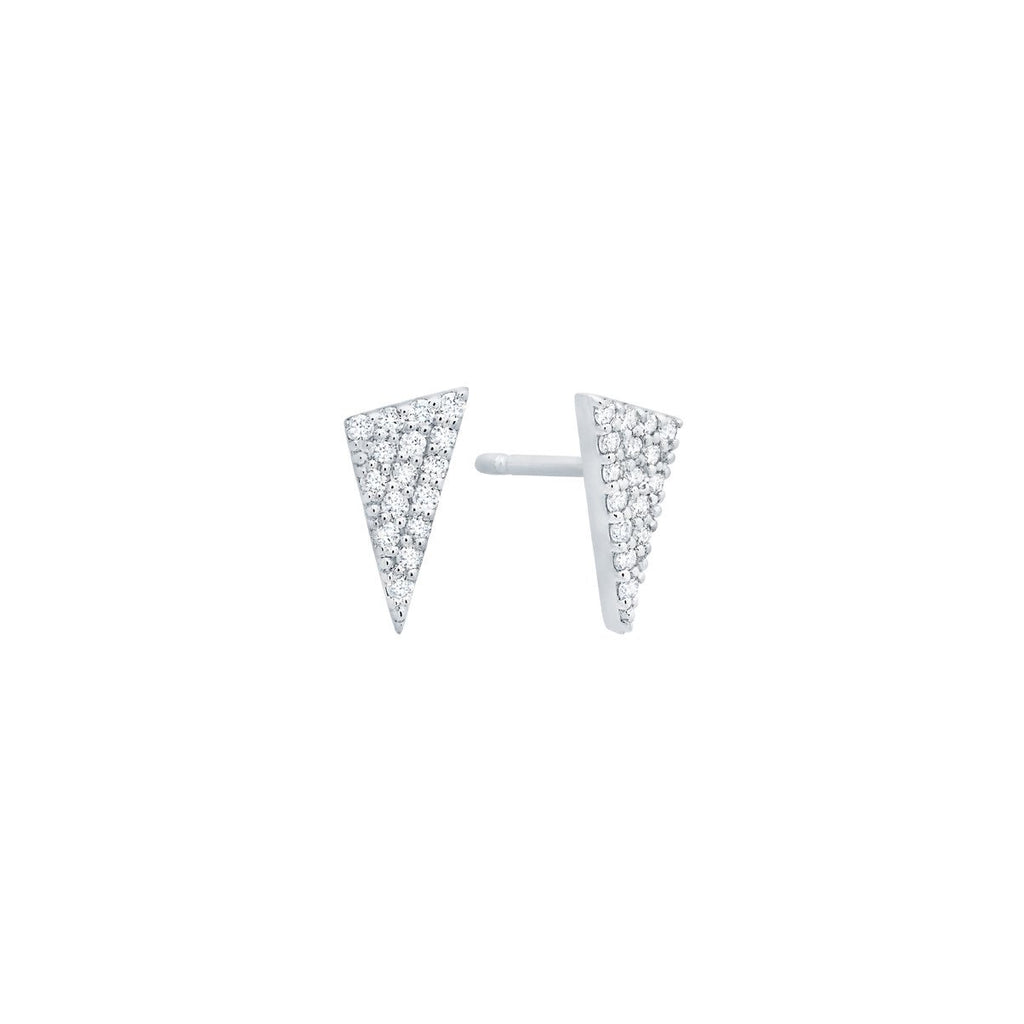Diamond Mini Triangle Studs - White Gold