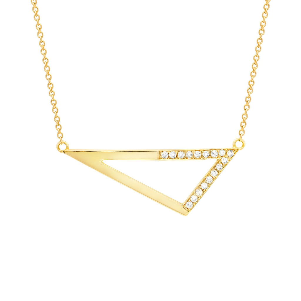 Medium Half Diamond Triangle Necklace - Yellow Gold