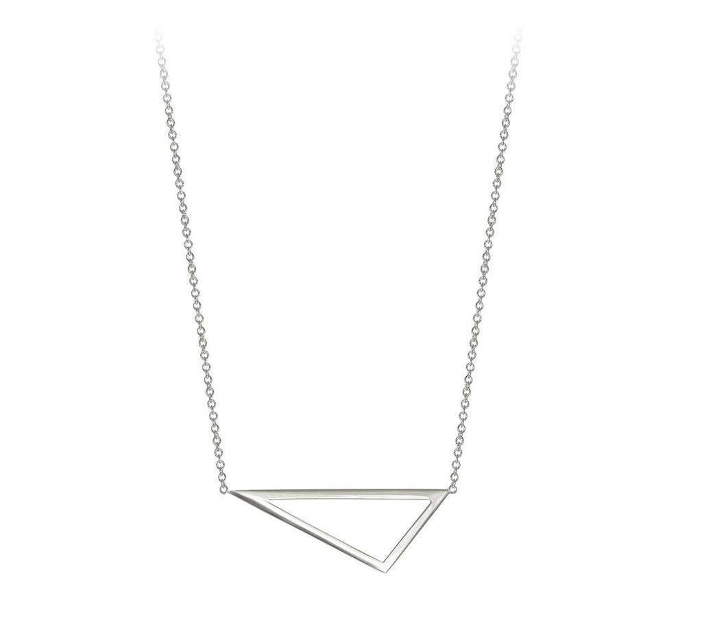 Mini Triangle Necklace - White Gold