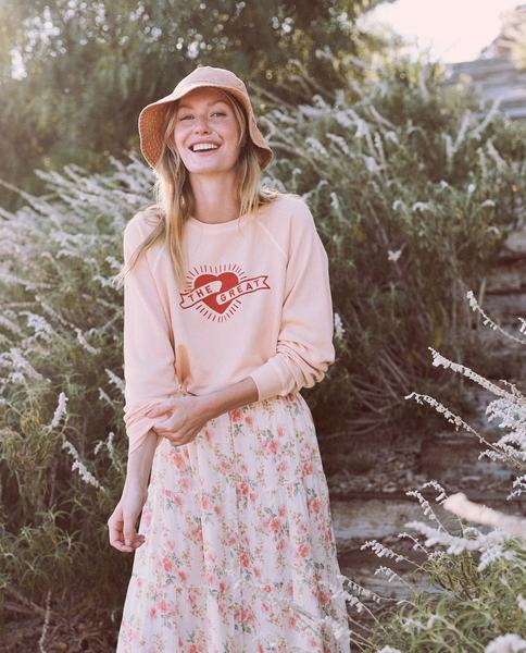 The Great Shrunken Sweatshirt - Whisper Pink With Mini Heart Graphic