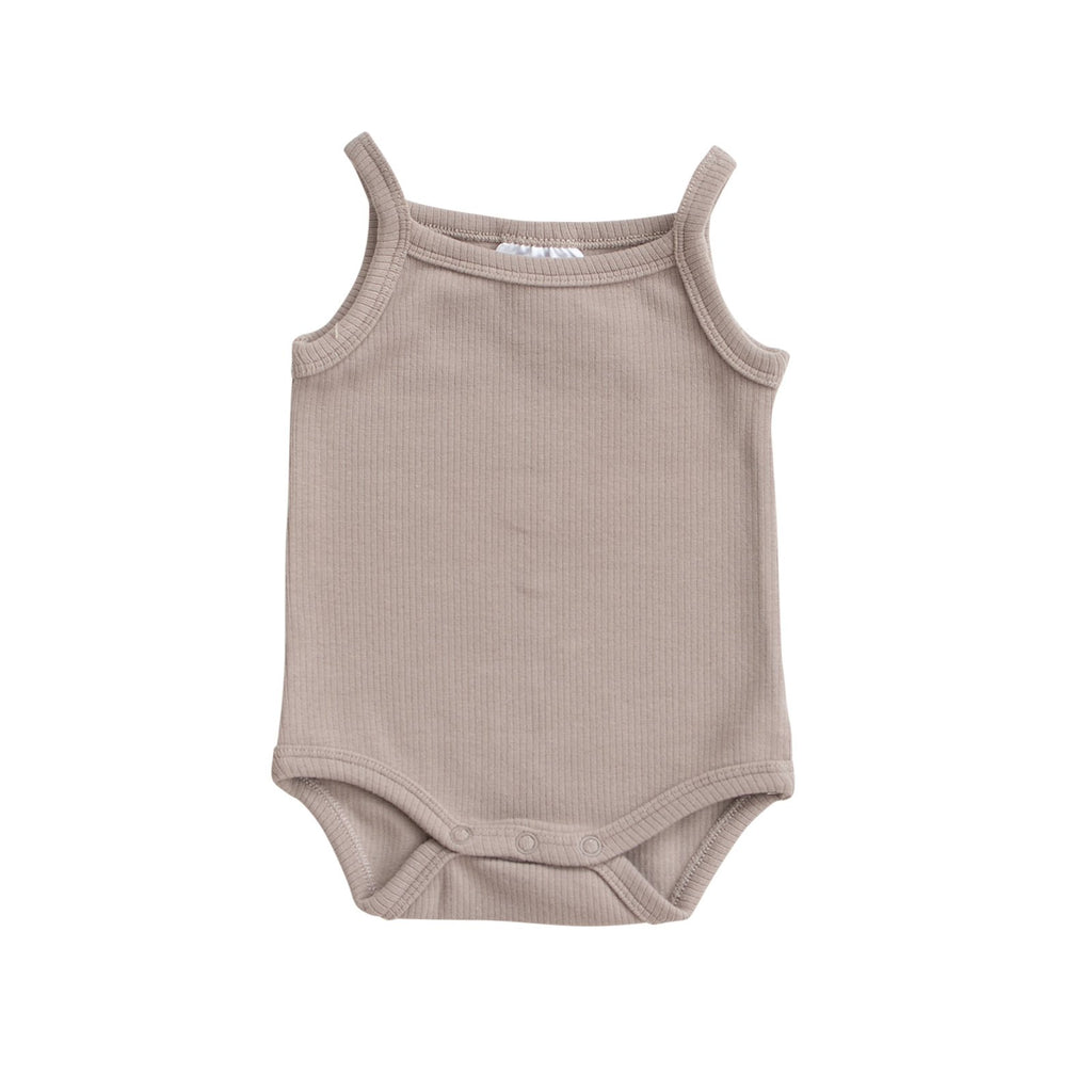 Ribbed Tank Bodysuit - Taupe