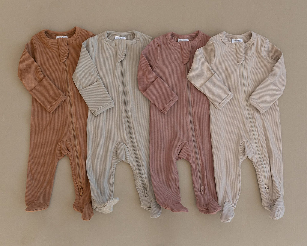 Organic Cotton Ribbed Zipper Onesie - Dusty Rose