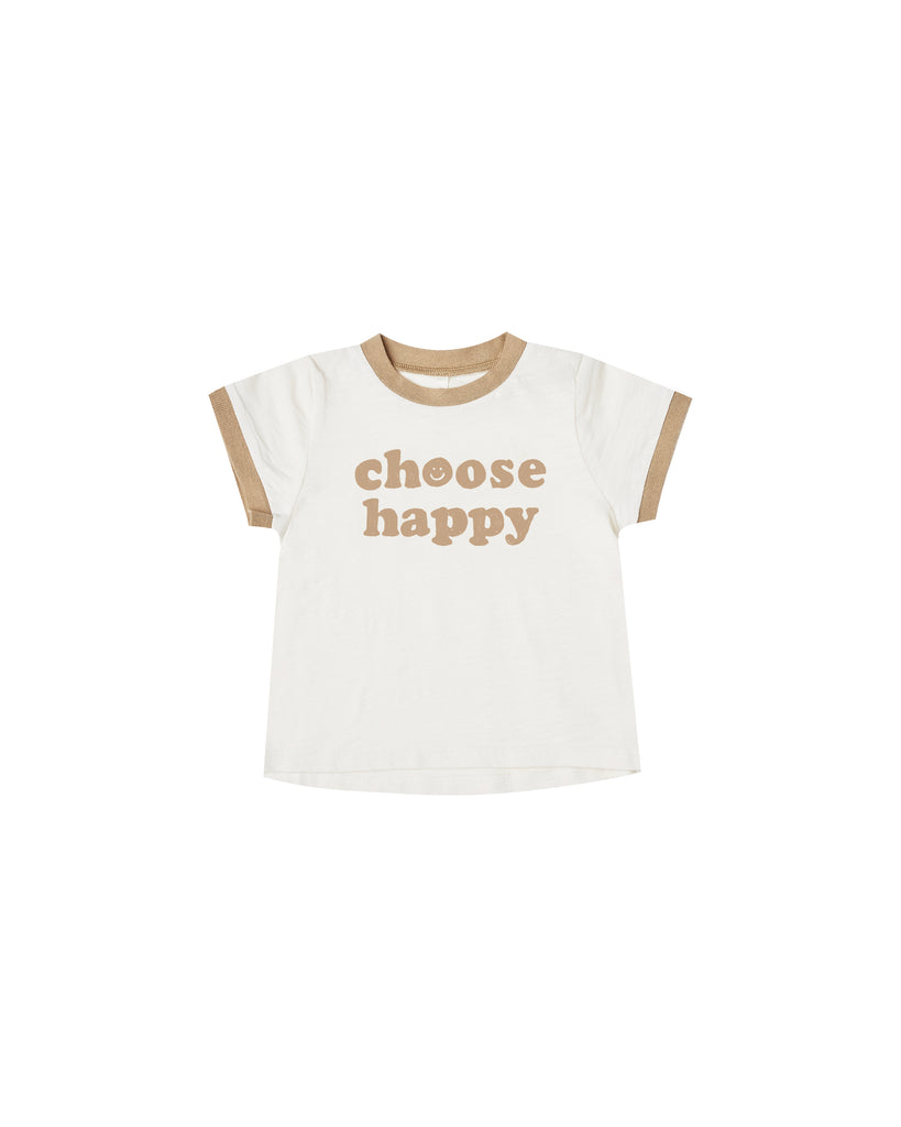 Choose Happy Ringer - Ivory/Almond