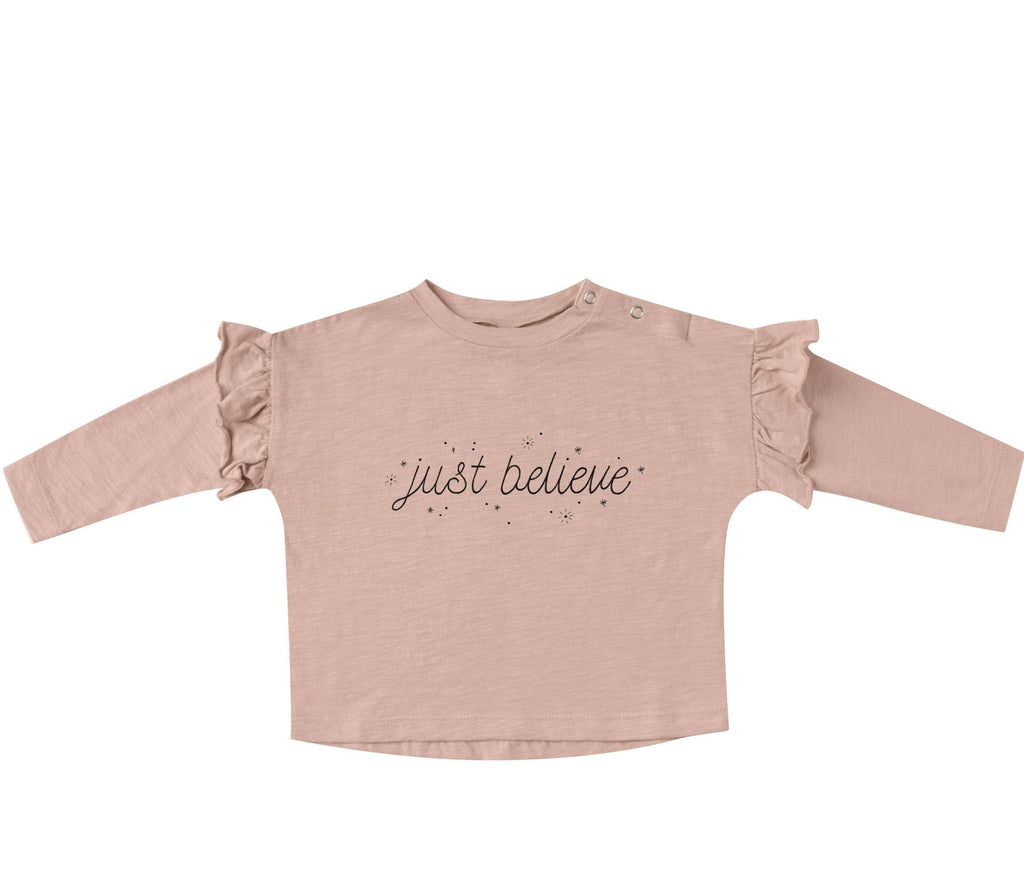 Just Believe Ruffle Tee - Rose