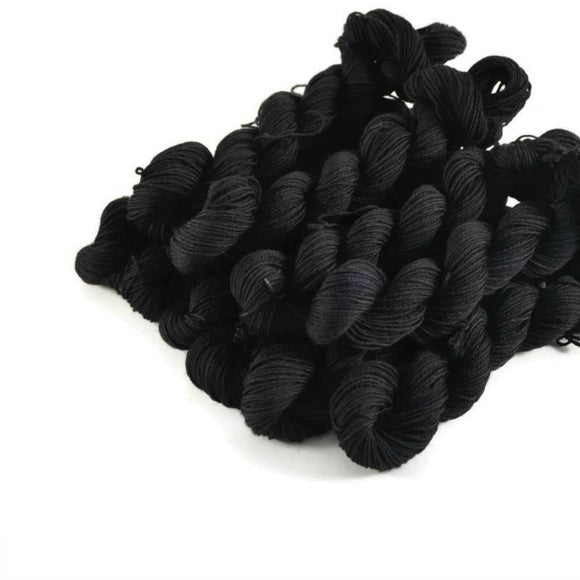 Percival Merino Fingering Yarn Mini Skeins - Onyx