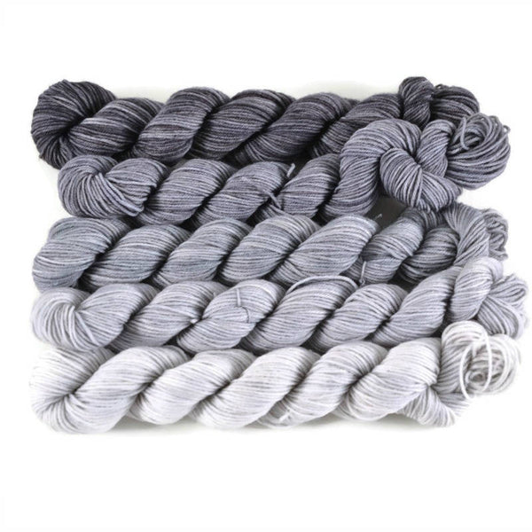 Gradient Fingering Mini Skein Set - Gunmetal