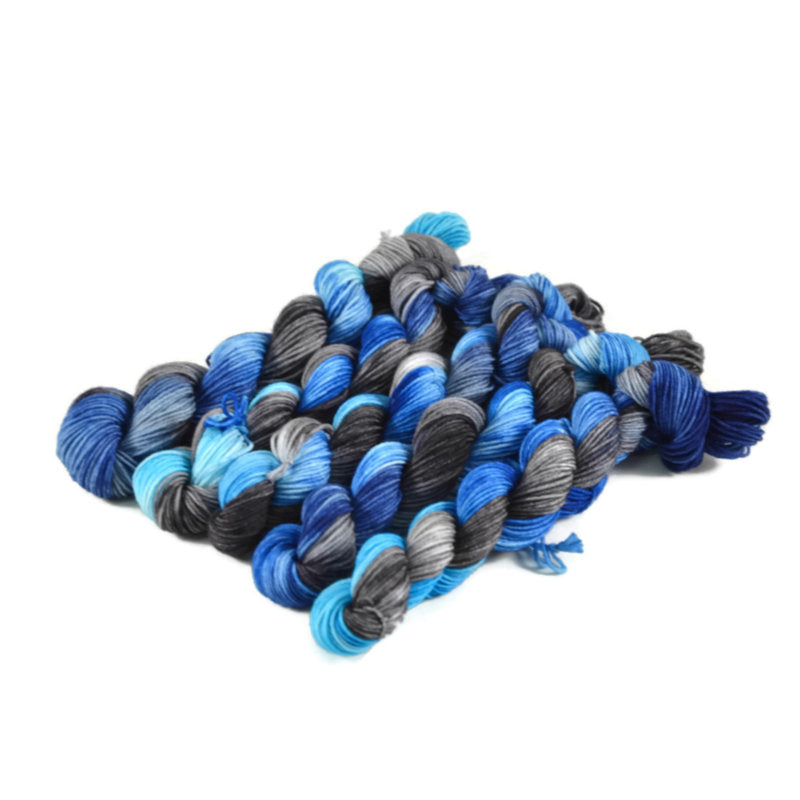 Percival Merino Fingering Yarn Mini Skeins - Black Ice