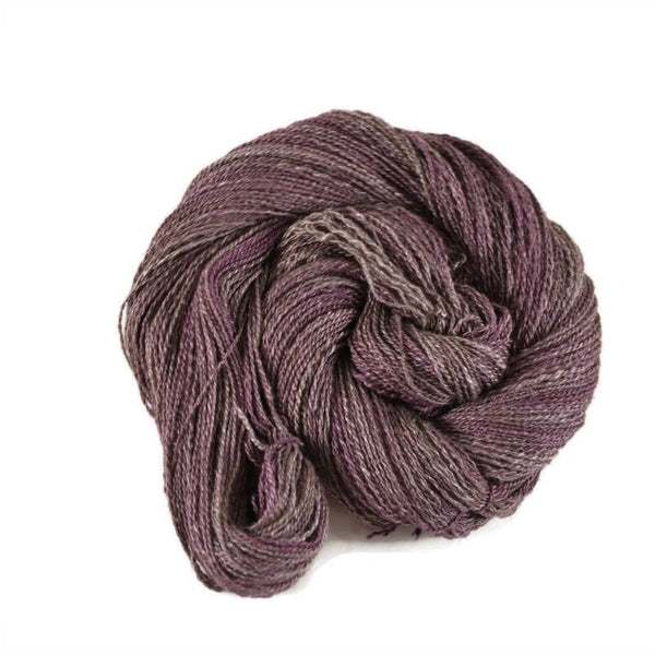 Handspun Yak Silk Yarn 2 ply Fingering weight, 400 yards - Purple Gray