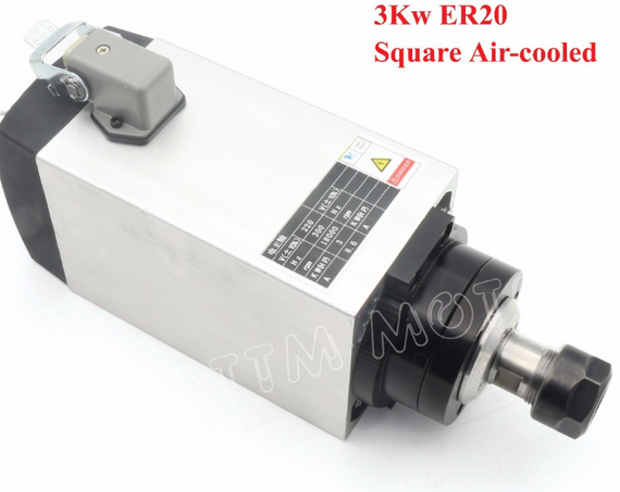 3kW Air Cooled Spindle Motor for CNC Router 220V/380V - ER20 Collet + 3kW VFD Inverter - DIY-Geek