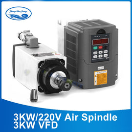3kW Air Cooled Spindle Motor for CNC Router 220V/380V - ER20 Collet + 3kW VFD Inverter
