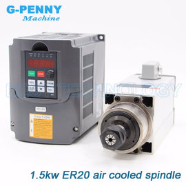 1.5kW Air Cooled CNC Spindle Motor for CNC Router 220V/380V + 2.2kW Inverter