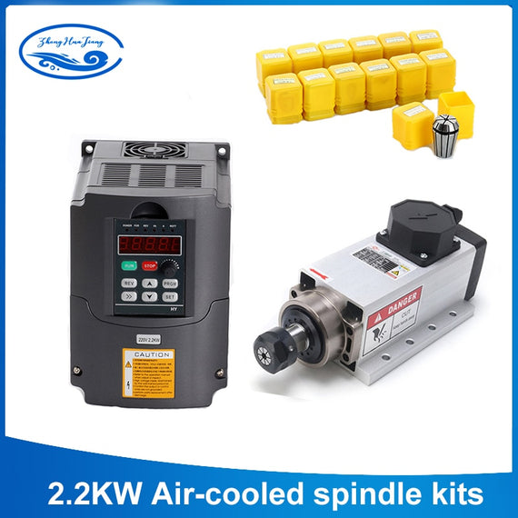 2.2kW Air Cooled CNC Spindle Motor for CNC Router + Inverter + ER20 Collet Set