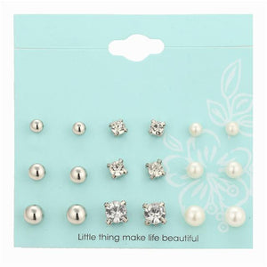 Crystal and Pearl Stud Set