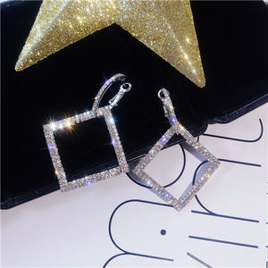 Square Double-Crystal Hoops