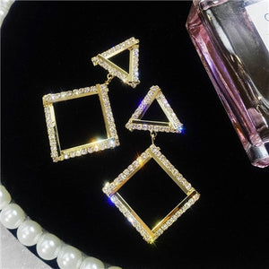 Tri-Square Crystal Earrings