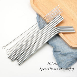 8 x Mix Straight and Bent Stainless Steel Straws w/ Brush