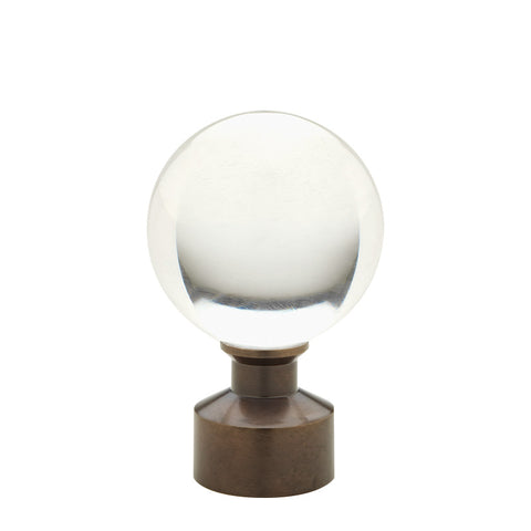 "Acrylic Ball finial for 1-3/16"" metal pole, each."