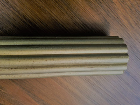 "2-1/4"" Reeded wood pole, 6' long, each."