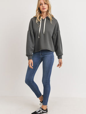 Paper Crane Bubble Sleeve Fleece Hoodie in Charcoal