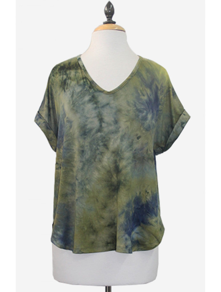 Coin 1804 Tie Dye V-Neck in Olive Multi