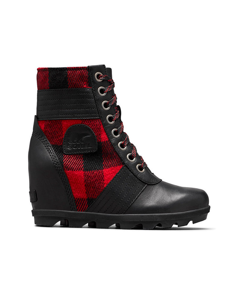 Sorel Lexie Lace Wedge Boot in Black/Red