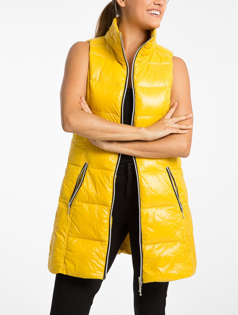 Anorak Nylon Down Puff Jacket Vest in Curry