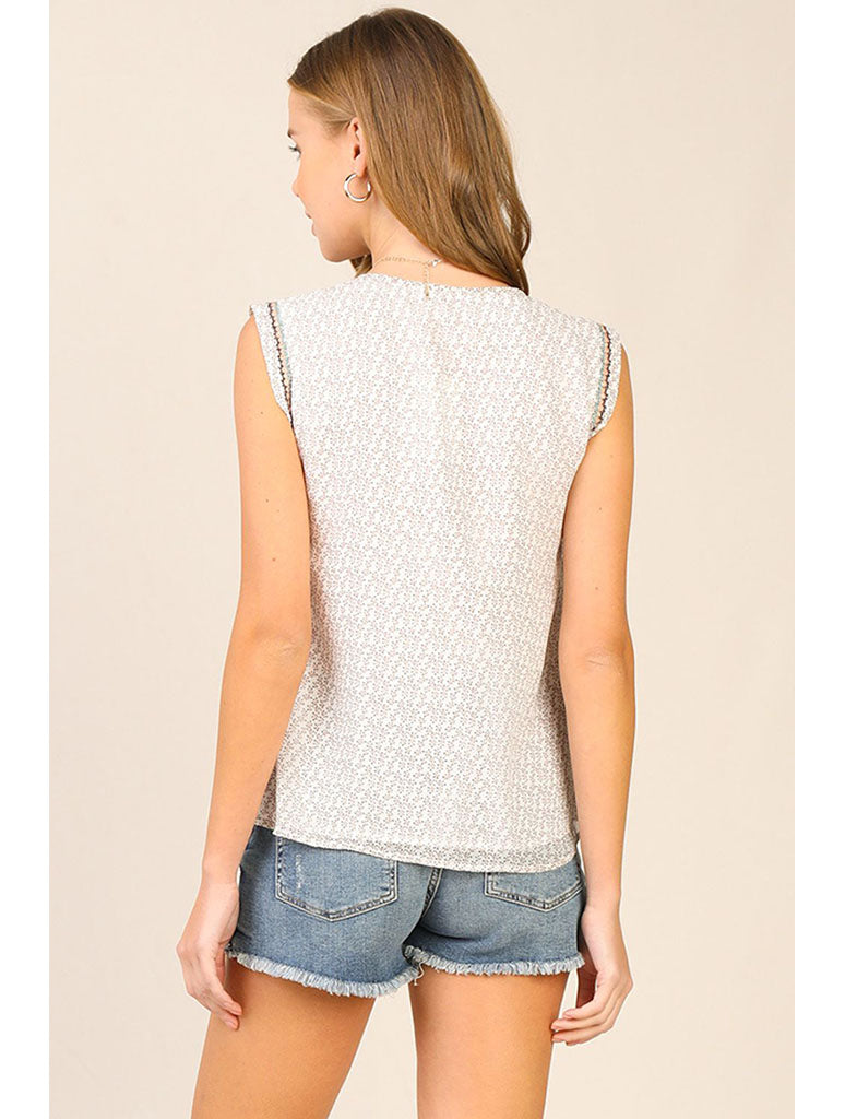 Skies Are Blue Embroidered V-Neck Tank in Taupe