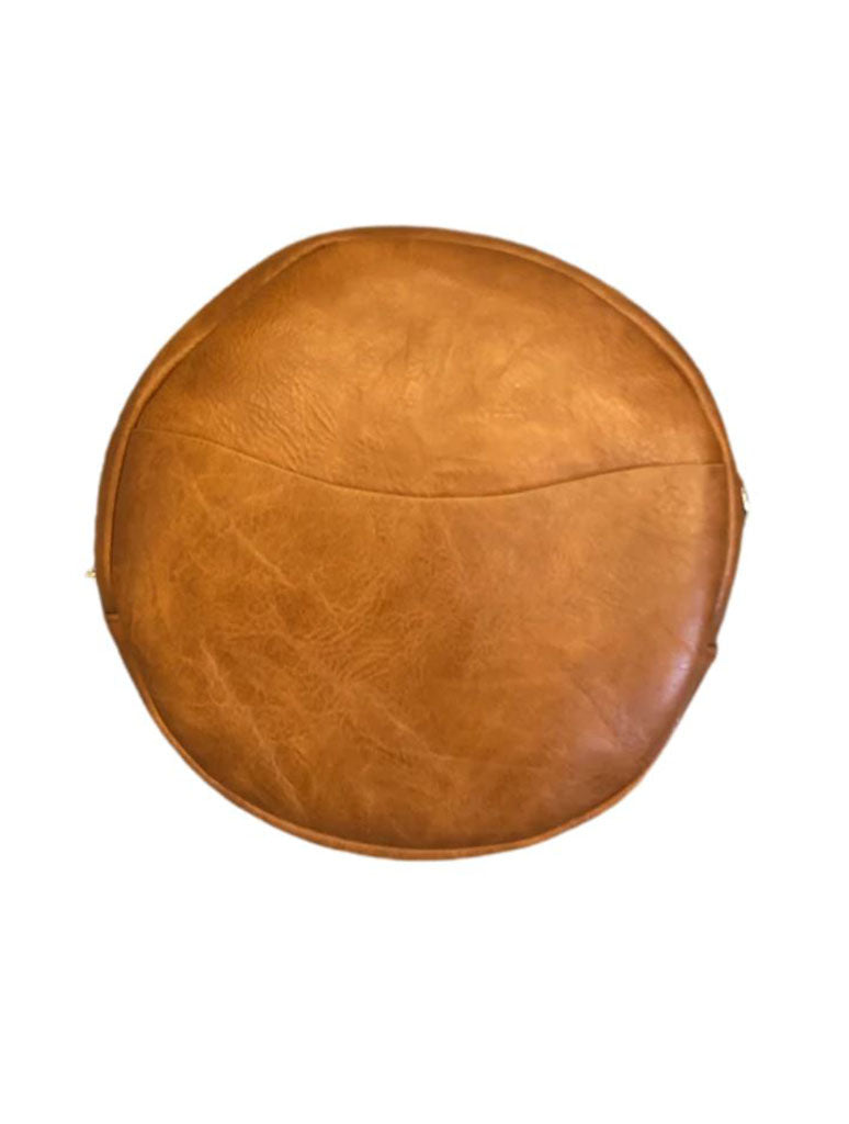 Ahdorned Large Round Vegan Messenger in Camel