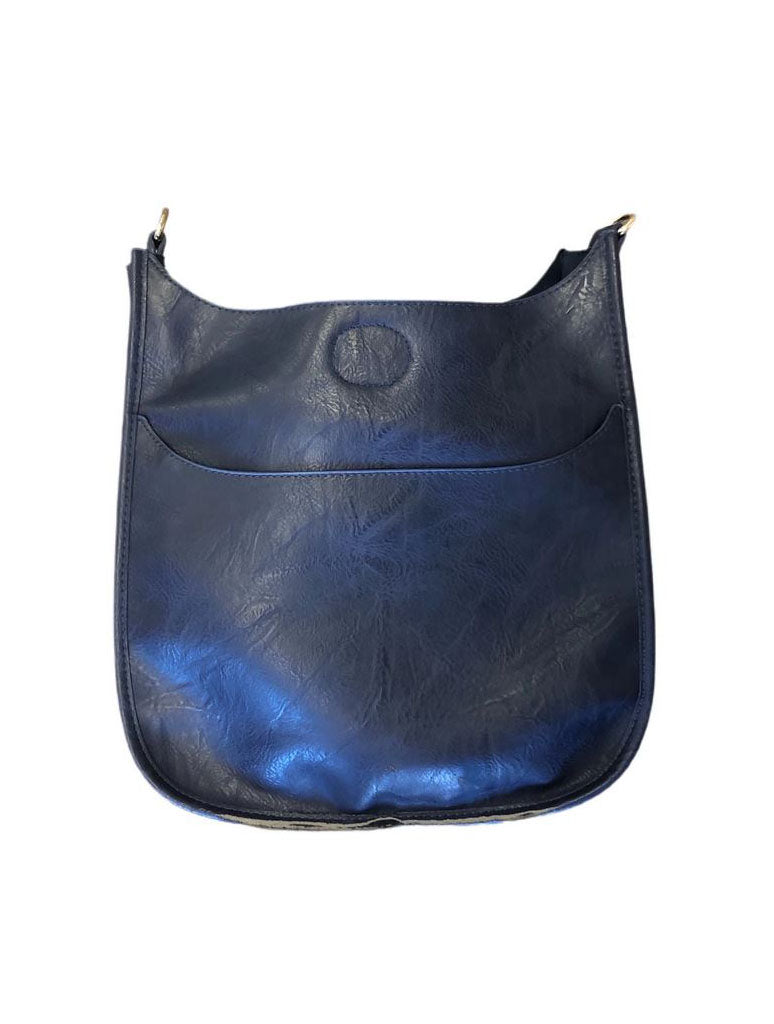 Ahdorned Faux Leather Classic Size Messenger in Navy - No Straps