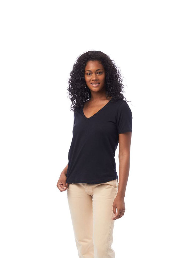 Alternative Apparel Organic V-Neck Shirt in Black