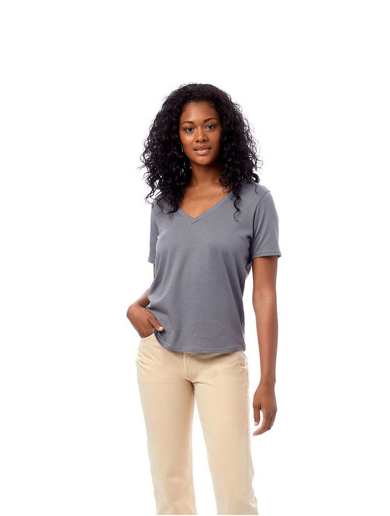 Alternative Apparel Organic V-Neck Shirt in Earth Ocean
