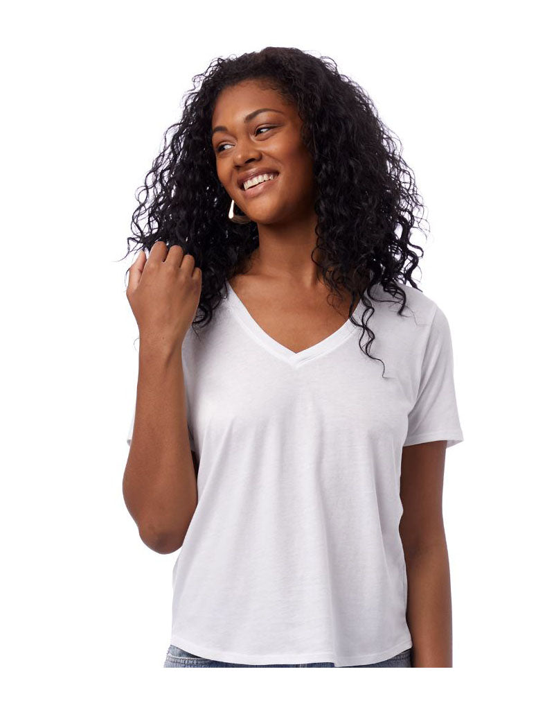 Alternative Apparel Organic V-Neck Shirt in White