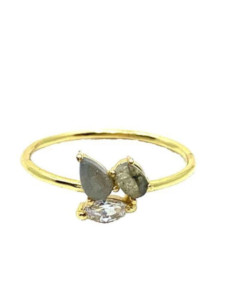 Athena Designs Abstract Stone Ring in Labradorite Gold