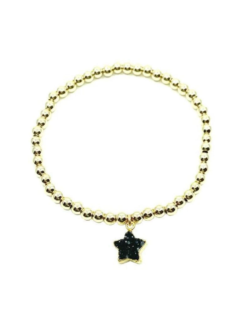 Athena Designs Black Druzy Star Gold Bracelet