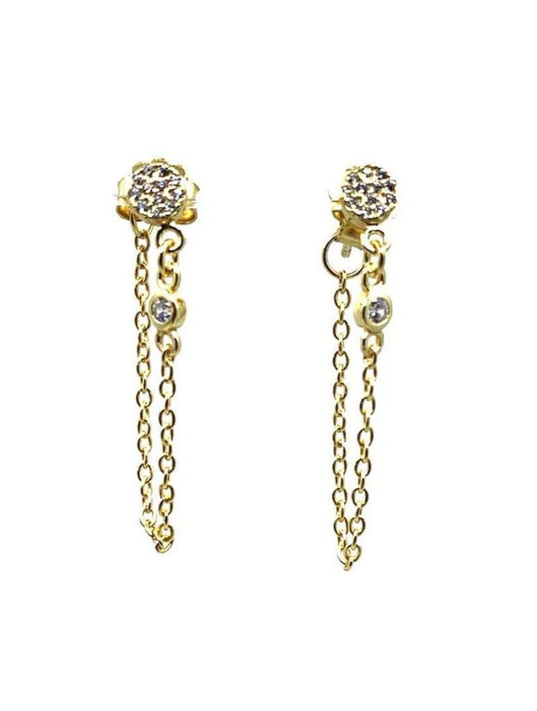 Athena Designs Gold Chain Stud Earrings