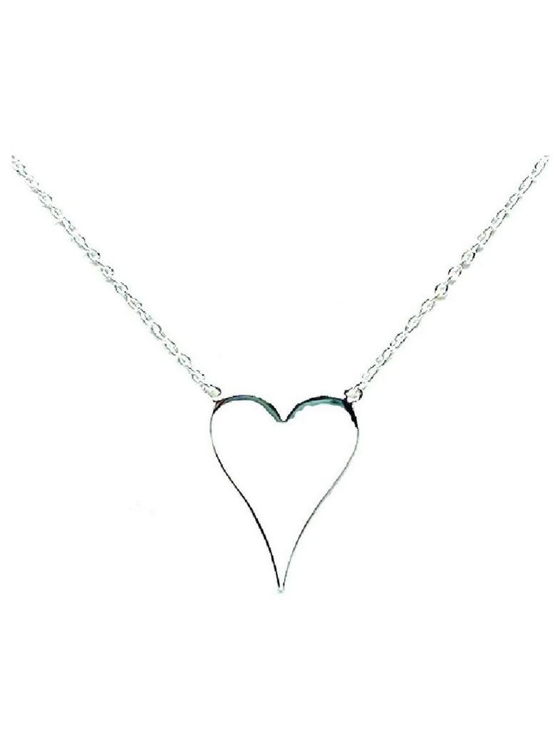 Athena Designs Long Heart Silver Necklace