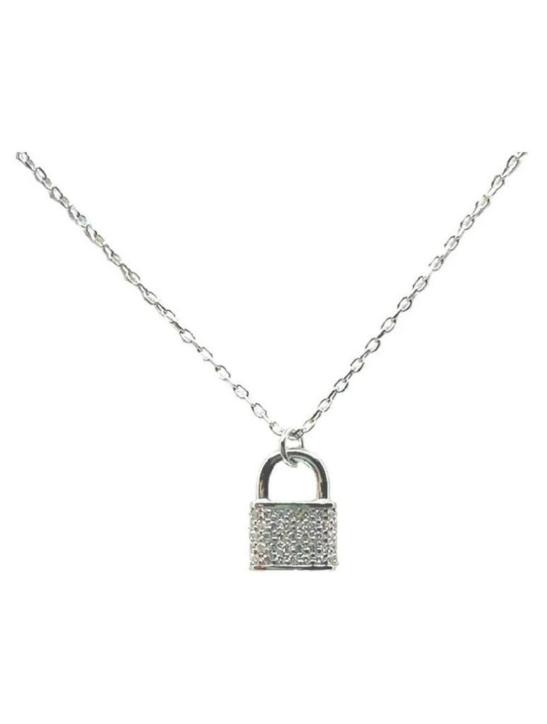 Athena Designs Padlock Necklace in Silver