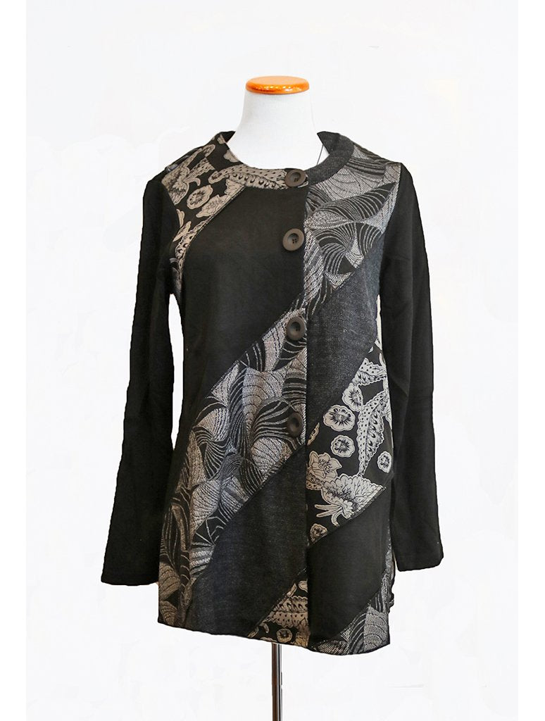 Adore Asymmetrical Button Tunic in Black/Grey