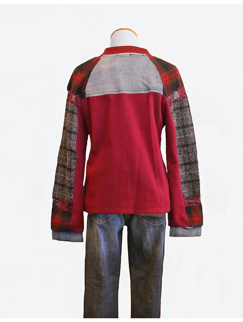 Adore Mix Media Jacket in Denim/Red