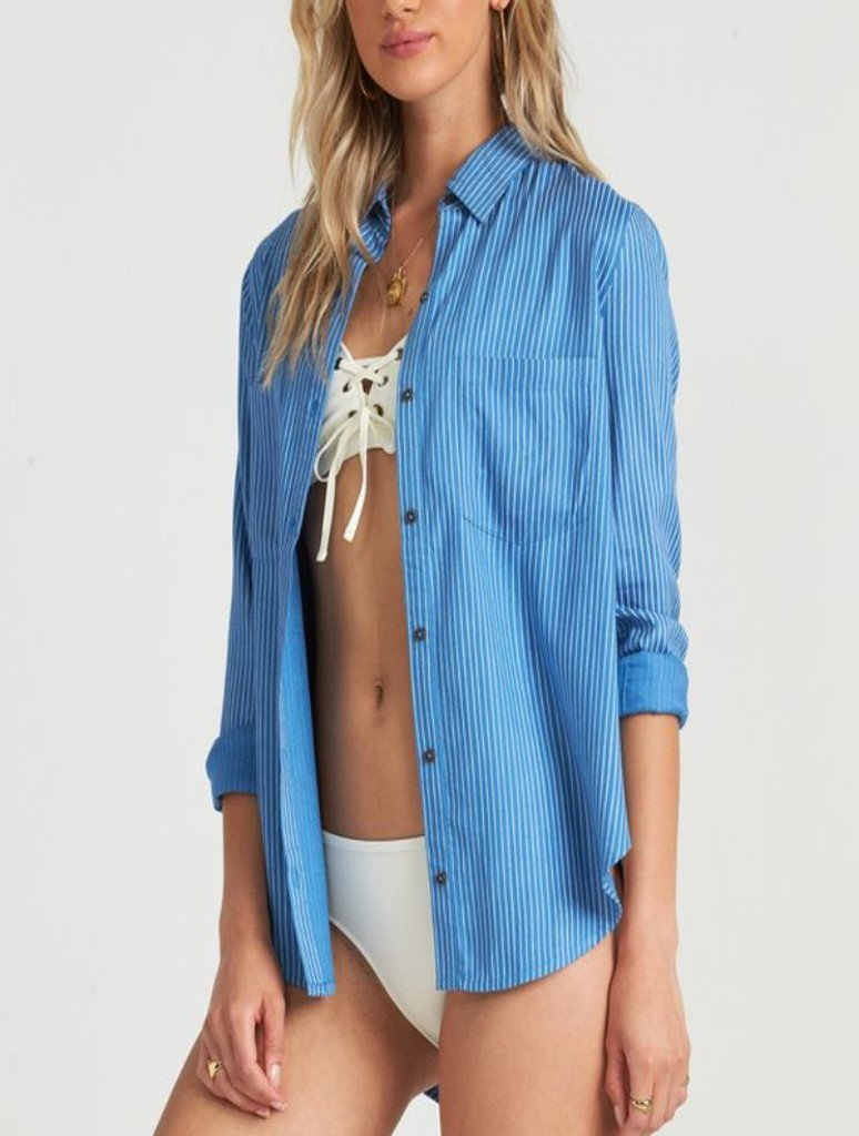 Billabong Sail South Button Up Top in French Blue