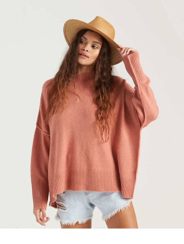 Billabong Endless Days Sweater in Dusty Rose