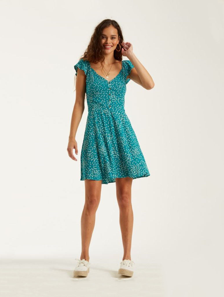 Billabong Forever Yours Mini Dress in Sea Green
