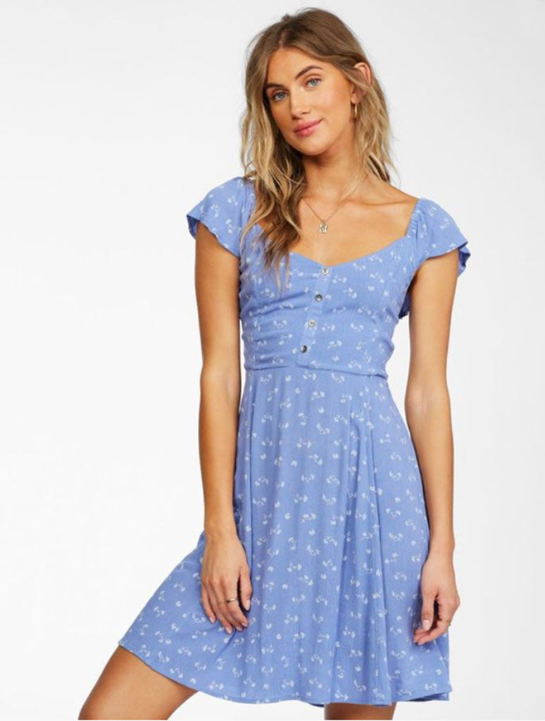 Billabong Forever Yours Mini Dress in Blue Wink