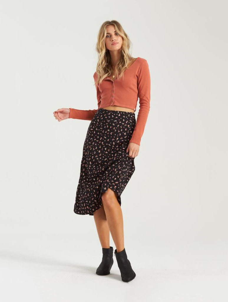 Billabong Wild And Free Midi Skirt in Black