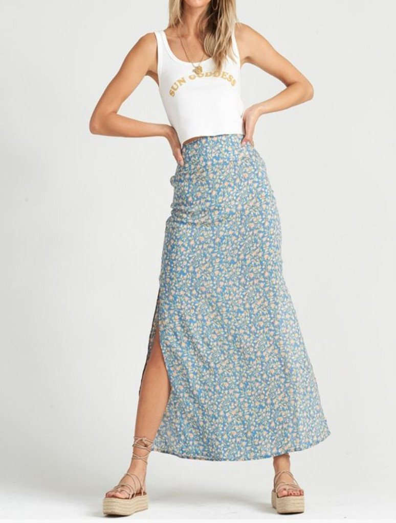 Billabong By The Water Maxi Skirt in French Blue