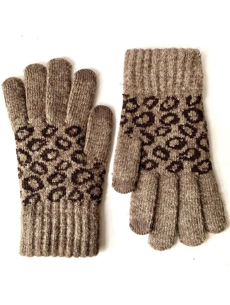 CRC Touch Knit Gloves in Beige Leopard
