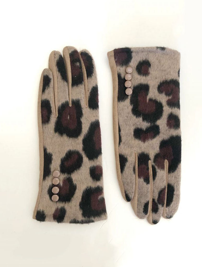 CRC Touch Gloves in Tan Black Burgundy Leopard